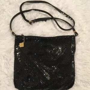 Whiting & Davis Black Metal Mesh Crossbody